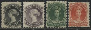 Nova Scotia QV 1860 1, 2, 8 1/2, & 10 cents mint o.g.
