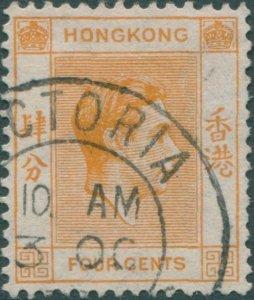 Hong Kong 1938 SG142 4c orange KGVI 1 FU