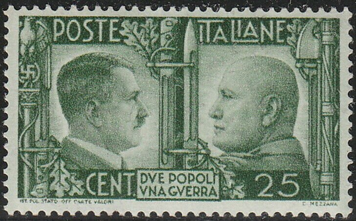 Stamp Italy SC 0415 WWII Hitler Mussolini Rome Berlin Axis Germany War MNH