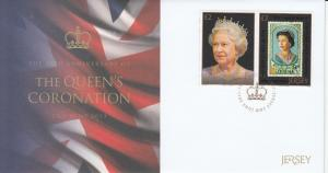 Jersey 2013 FDC 60th Anniv Queen's Coronation 2v Set Elizabeth Diamond Jubilee