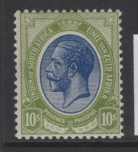 SOUTH AFRICA SG16 1913 10/= DEEP BLUE & OLIVE-GREEN MTD MINT