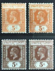 Malaya Straits Settlements KGV 1921-32 5c Varieties MSCA Mint SG#225-226 M3106