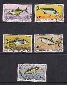 Central African Republic   #135-139  cancelled / used    1971 river fish