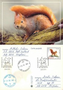 Moldova 2016 PSC birds of prey stamps with FD Cancel Red squirrel