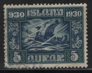 ICELAND, 153, USED, 1930Viking ship in storm