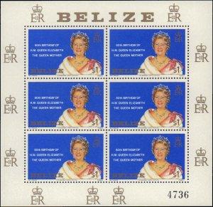 1980 Belize #523, Complete Set, Sheet of 6, Never Hinged