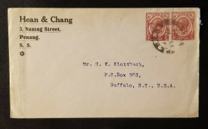 1923 Penang Singapore Straights Buffalo New York Hean & Chang Advertising Cover