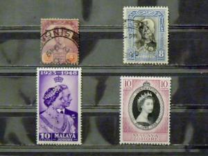 2711   Malaya - Johore   MH/Used, VF # 89, 127, 128, 155         CV$ 3.35
