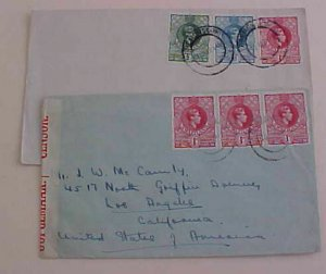 SWAZILAND  1941 CENSORED COVER also 1945 ALL TO USA
