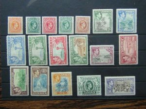 Jamaica 1938 - 52 set to £1 MM SG121 - SG133A