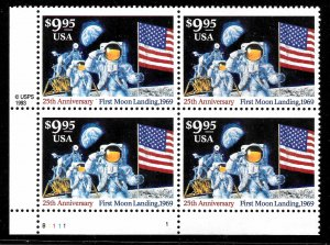 WCstamps: U.S. Scott #2842 / $83 - $9.95 Moon Landing Plate# Block 4,  Mint OGnh