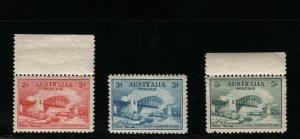 Australia #130 - #132 (SG #141 / #143) Very Fine Never Hinged