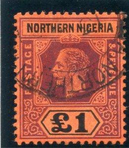 Northern Nigeria 1912 KGV £1 purple & black/red very fine used. SG 52. Sc 52.