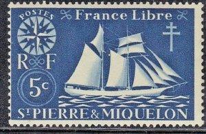 ST PIERRE & MIQUELON  SCOTT# 300  MNH 5c 1942   SEE SCAN
