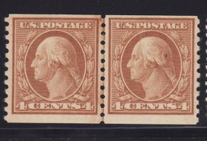 495 line pair VF OG mint lightly hinged with nice color cv $ 75 ! see pic !