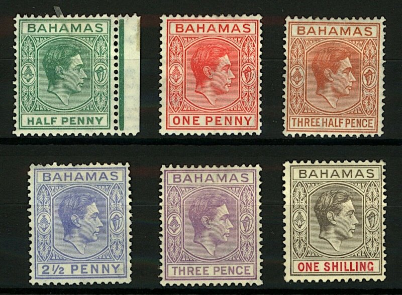 Bahamas KGVI 1938/52 range of portrait issues to 1/- cv£52 (6v) Mint Stamps
