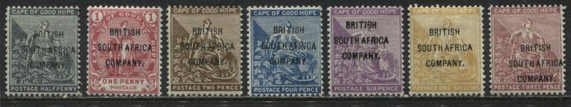 COGH overprinted British South Africa Company 1896 complete set mint o.g.