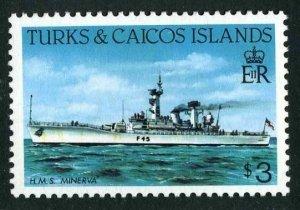 Turks & Caicos 591 perf 12 1/2 x 12,MNH.Michel 671A. H.M.S Minerva,1983.