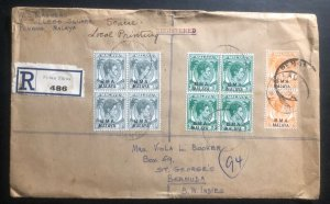 1949 Penang BMA Malaya Registered cover to St George Bermuda