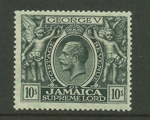 JAMAICA 1919-21 Sg 89, 10/- Myrtle Green, Lightly Mounted Mint. {B9-74}
