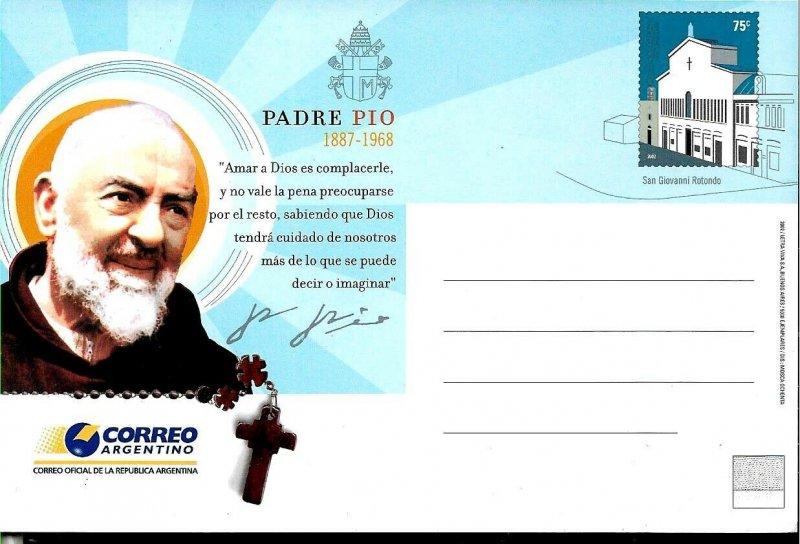 PS-146 ARGENTINA 2002 P STATIONARY RELIGION PADRE PIO UNUSED