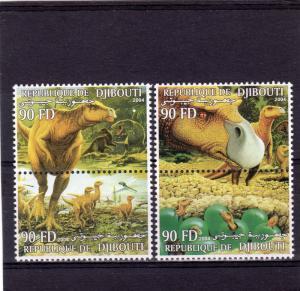 Djibouti 2004 DINOSAURS-PREHISTORIC ANIMALS Set 2 Pairs Perforated MNH VF