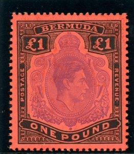 Bermuda 1951 KGVI £1 violet & black/scarlet (p13) superb MNH. SG 121d. Sc 128.