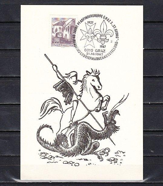 Austria, 21/OCT/67. St. George, Scout cancel on a Cachet card.