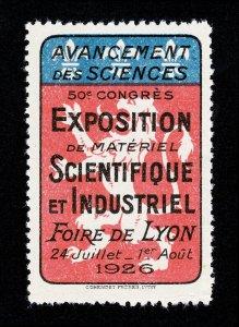 POSTER STAMP EXPOSITION SCIENTIFIQUE ET INDUSTRIEL FOIRE DE LYON 1926
