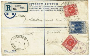 Nigeria (Cameroons) 1933 Kumba cancel on registry envelope to England