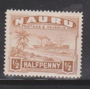 NAURU Scott # 17b MH - Ship Palm Trees & Beach
