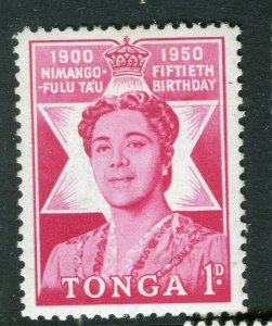 TONGA; 1950 early Queen Salote issue fine Mint hinged 1d. value