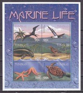 Tuvalu, Scott cat. 820 a-f. Marine Life & Birds sheet of 6. ^