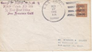 1946, USS Orleck, DD-886, Shanghai to New Haven, CT, See Remark (N4164)