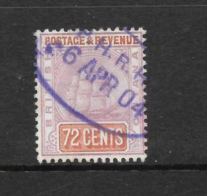 BRITISH GUIANA  1889  72c   SHIP  FU    SG 203  SC 146