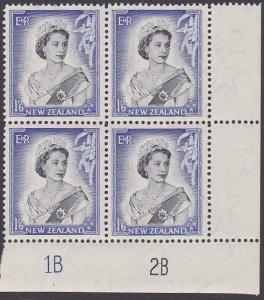 NEW ZEALAND 1953 QE 1/6d plate block 1B2B mint block of 4...................2489