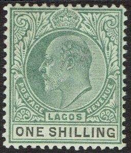 LAGOS 1904 KEVII 1/- WMK CROWN CA
