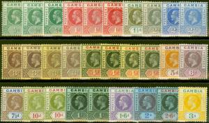 Gambia 1912-21 Extended set of 29 to 3s SG86-102 All Shades V.F Very Lightly Mtd
