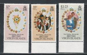 Virgin Islands 1981 Royal Wedding Scott # 406 - 408 MNH