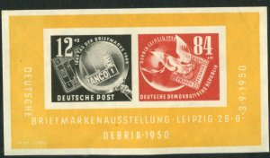 GERMANY DDR GDR Sc#B21a 1950 Stamp Centenary Souvenir Sheet OG Mint Hinged
