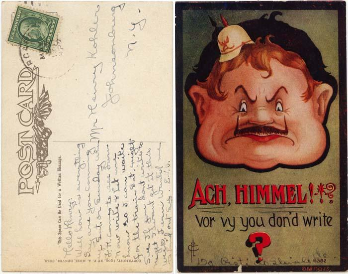 USA Patriotic First World War Humourous Postcard - Year 1914 - F