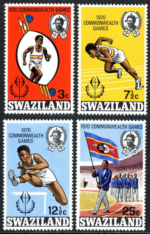 Swaziland 179-182, MNH. Commonwealth Games.Walking, Running,Hurdling,Parade,1970