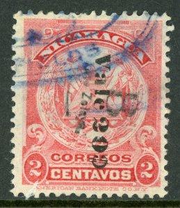 Nicaragua 1906 Bluefields ABNC 20¢/2¢ Rose Reading Down VFU  C771 ⭐⭐⭐⭐⭐