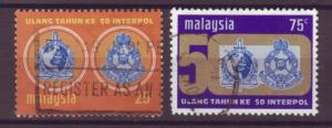 J17828 JLstamps 1973 malaysia set used #106-7 interpol