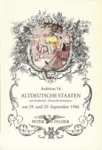 Feuser: Sale # 16  -  Auktion. 16 Altdeutsche Staaten, Pe...