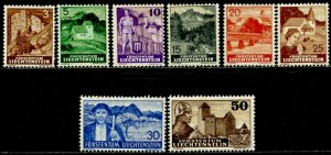 LIECHTENSTEIN Sc#136-142, 145 1937 Scenes Part Set OG Mint Hinged