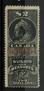 Canada 1897 $2 Weights & Measures Stamp Used / Side Tear / BF# 25 - S2766