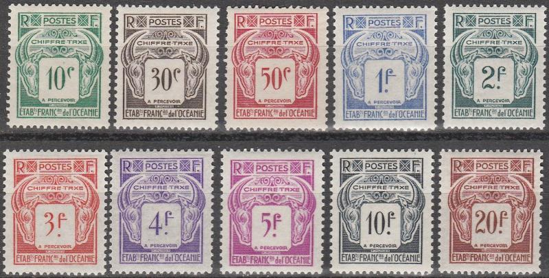 French Polynesia #J18-27   F-VF Unused  CV $19.30  (A13074)