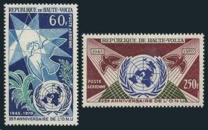 Burkina Faso C84-C85,MNH.Michel 308-309. UN 25th Ann.1970.Bird.