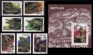 Tanzania Reptiles 7v+MS CTO SG#1528-MS1535 SC#1128-1135 MI#1503-15090+Block 220